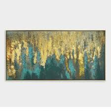 teal and gold woods wall art in gold