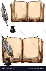 old books and ink quill feather pens vector image