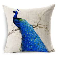 Online Shop Chinese Luck Bird Blue Feather Peacock Cushions Covers  Pillowcase Linen Cotton Cushion Pillow Cover For Sofa Couch Car Seat |  Aliexpress Mobile