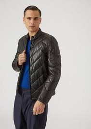 padded jacket in nappa leather with maxi chevron effect quilting