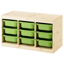 TROFAST storage combination with boxes, light white stained pine pine,  green Width: 37