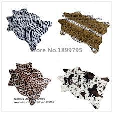 zebra cow leopard giraffe tiger printed rug cowhide faux skin leather nonslip antiskid mat 110x75cm animal print carpet for home blanket blue gray throw