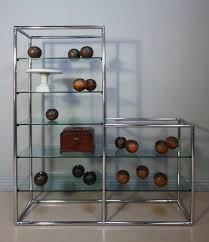 1970s vintage chrome glass shelving display stands