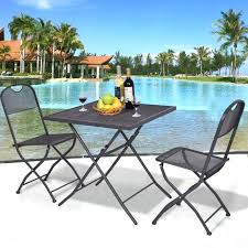 giantex 3 pcs outdoor patio bistro furniture set steel mesh frame patio bistro sets patio bistro sets ikea