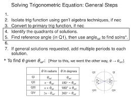solving trigonometric equation general steps θref