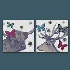 wall art canvas prints with stag highland cow butterflies and bees on two cows canvas wall art with gillian kyle scottish wall art stag and lola set of two canvas prints