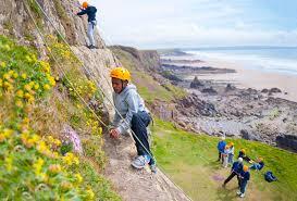 outdoor activities. GCSE PE Group Climbing At Maer In Cornwall Outdoor Activities