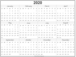 2020 Year Calendar Yearly Printable