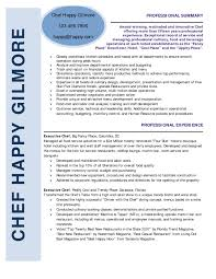 Cover Letter Resume Sample Chef Sample Pastry Chef Resume Free