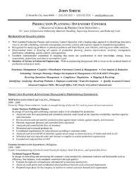 Inventory Control Resume Amazing A Professional Resume Template For A Production Planner Or Inventory