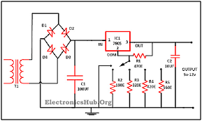 0 28v 6 8a power supply circuit using lm317 and 2n3055 circuit diagram variable voltage regulator