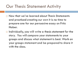 writing a thesis statement ppt our thesis statement activity