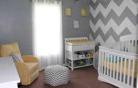 Gray Baby Room Ideas with Yellow and White Accent
