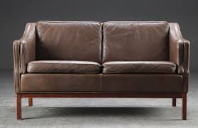 vintage retro danish borge mogensen style 2 seater leather sofa 1970s