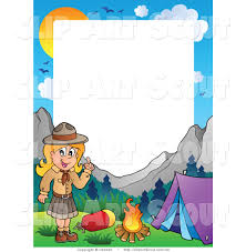 clipart of a scout girl frame showing a girl camping in the mountains