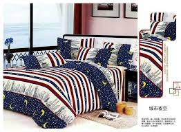moon stars stripes pattern duvet covers bedding set