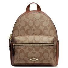 Coach 58315 Mini Charlie Signature Backpack Bag Khaki Saddle