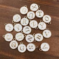 <b>260pcs</b> 10 Sets A-Z <b>White</b> Pink Charms Letter Oil-drop Jewelry,Gold ...