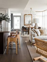 Modern Living Dining Room Wood With A Pop Of Gold Modern Living Room And Kitchen Stools