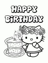 Small Picture Hello Kitty Single Birthday Cake coloring page for kids holiday