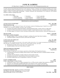 Accounting Internship Resume Sample Objectives For An College