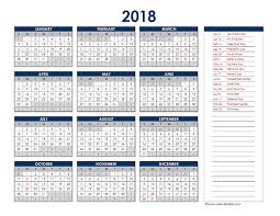 excel 2018 yearly calendar 2018 excel yearly calendar free printable templates