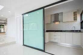 large tempered glass kitchen sliding