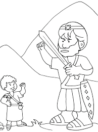 David And Goliath Coloring Pages How To Draw Versus In The Bible