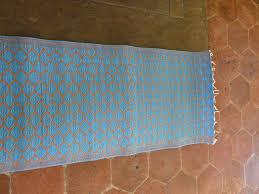 moroccan mat woven plastic medium size 120 x 200cm turquoise tan diamonds