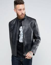 hugo by boss lefox leather biker jacket slim fit black men hugo boss authorized site