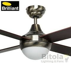 new brilliant tempo antique brass ceiling fan with light timber blades 48