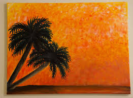 palm tree art silhouette painting orange painting sunset painting oil painting