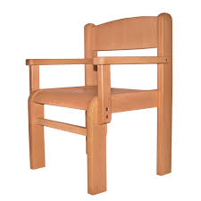 childrens furniture solid beech wood one children s chair with arm rest natural varnish
