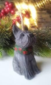 Geschnitzte Figur Holz Scottie Terrier Hund Baumschmuck