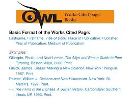 Examples Of Work Cited Mla Works Cited