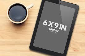 ereader tablet ipad template mockup coffee cup wood table psd