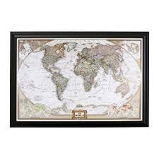 Amazon Com Push Pin Travel Maps Executive World With Black Frame