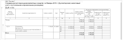 С Бухгалтерия редакция Расчеты в условных единицах с  Справка расчет переоценки валютных средств