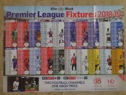 Premier League Wall Chart Mail Premier League 2018 19 Wallchart Poster Football