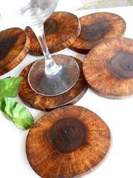 beautiful black walnut wood coasters made into wooden slices of nature set of black walnut tree trunk