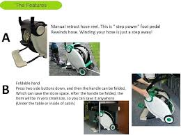automatic water hose reels garden auto foot pedal rewind retractable water hose reel with wheels