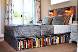 2. Install a Bookshelf Beneath the Bed