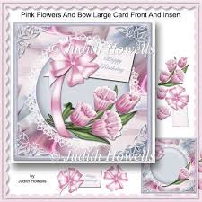 instant card making downloads pink flowers and bow large card front and insert 0 80 instant