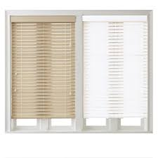 interior bamboo and white 1 inch faux wood blinds and casement
