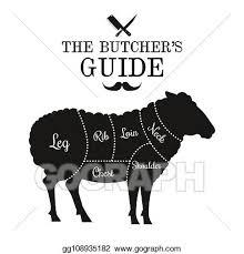 Clip Art Vector Mutton And Lamb Cut Lines Diagram Graphic