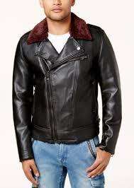 guess men s faux leather fleece lined biker jacket