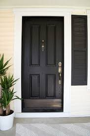 Black Front Door with Brass Kick Plate - Room For Tuesday