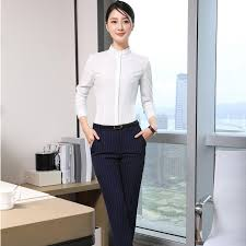 Shirts And Pants Us 42 7 Formal Uniform Design Pantsuits With 2 Piece Tops And Pants Female Pants Suits Ladies Office Work Wear Blouses Shirts Sets In Pant Suits