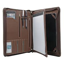 crazy horse leather padfolio business organizer portfolio with handle for surface pro 6 5 4 or new surface go and macbook 13