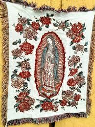 Virgen De Guadalupe Embroidery Design Virgin Mary Mother Maria Virgen De Guadalupe Throw Blanket Yoga Beach Park Vtg
